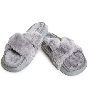 Shoes - NEW Grey Faux Fur Slide Sandals Shoes 6 7 8 9 10